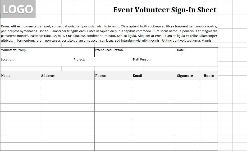 Volunteer Sign-In Sheet Event