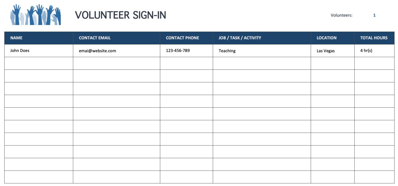 Volunteer Sign-In Sheet