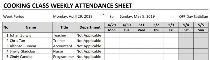 Weekly Attendance Sheet Attendee Information