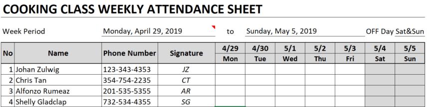 Weekly Attendance Sheet Customize Fields