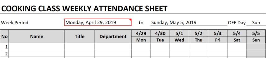 Weekly Attendance Sheet Date