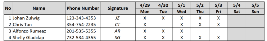 Weekly Attendance Sheet Track Letters