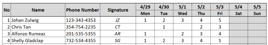 Weekly Attendance Sheet Track Numbers