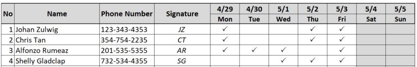 Weekly Attendance Sheet Track Wingdings