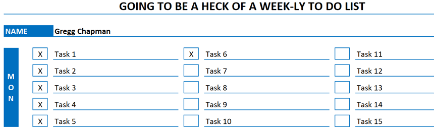 Weekly To Do List Weekly 15 Lines