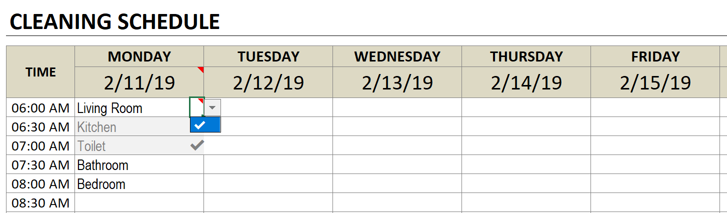cleaning schedule check off task