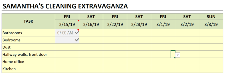 cleaning schedule color scheme