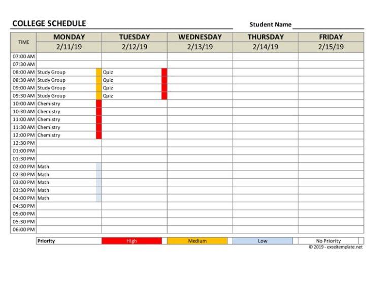 college schedule 5 days