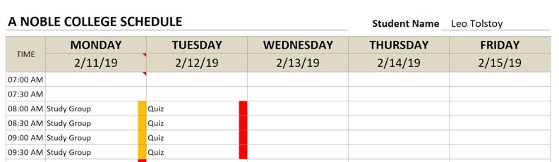 college schedule change title