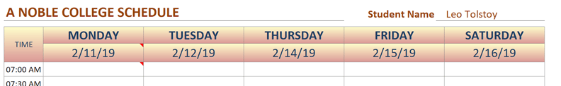college schedule multi-color pattern fill
