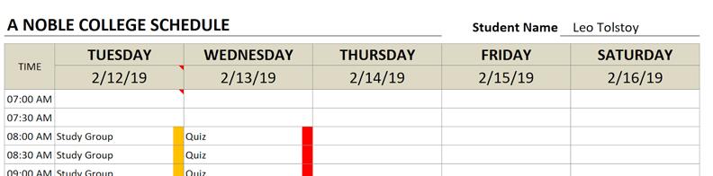 college schedule start date tuesday