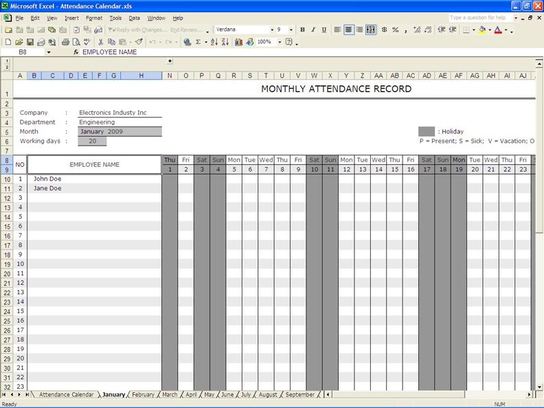employee attendance calendar 6 working days