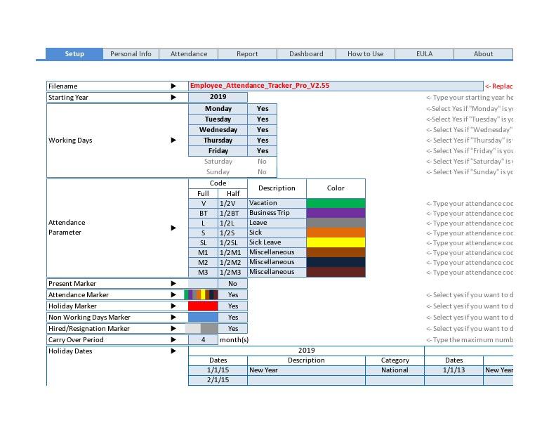 Employee Attendance Tracker The Spreadsheet Page