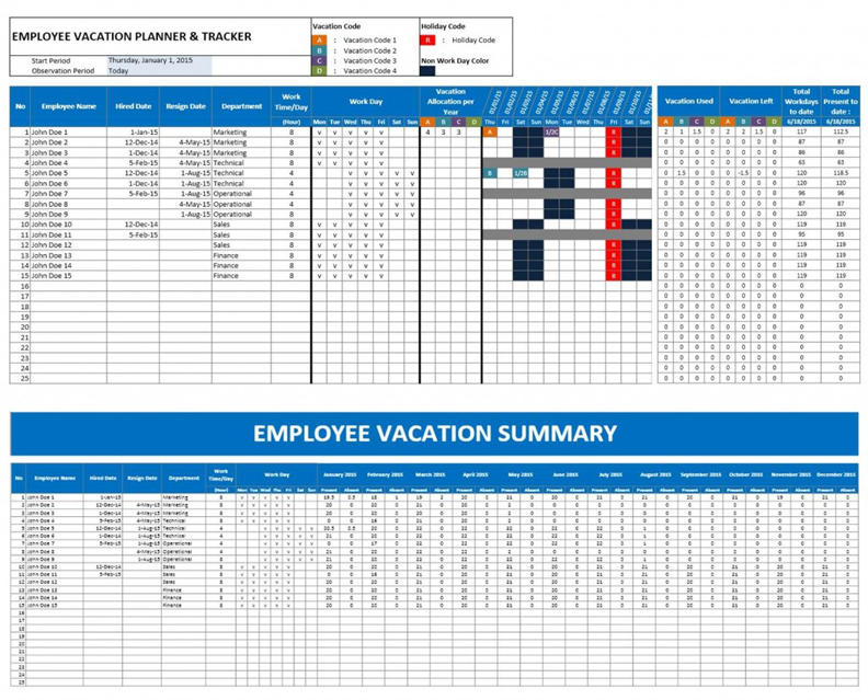 employee vacation planner overview