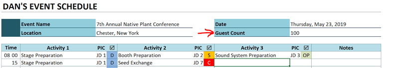 event schedule add guest count