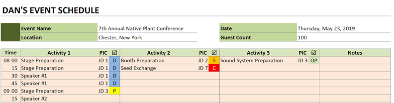 event schedule color scheme example