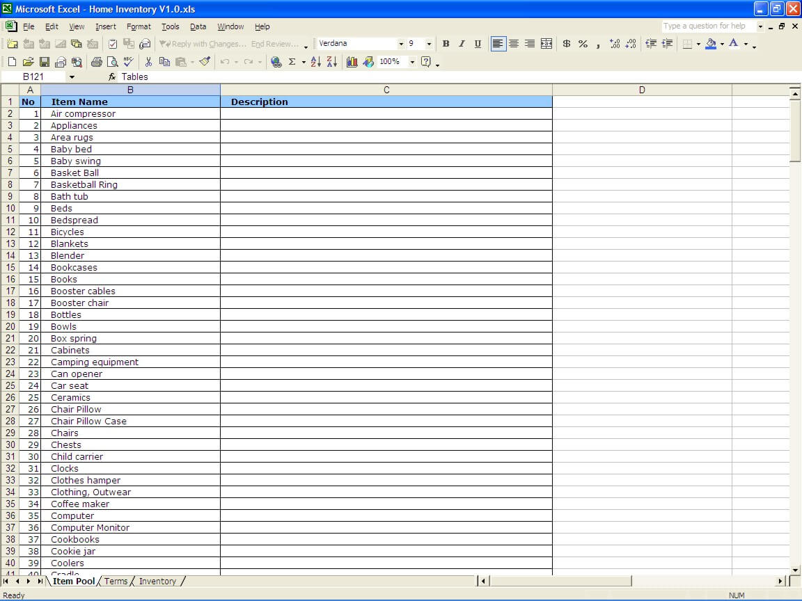 Household Inventory List The Spreadsheet Page