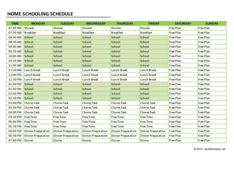 homeschool schedule 7 days