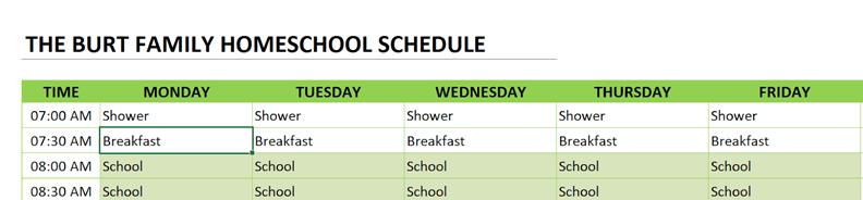 homeschool schedule change title