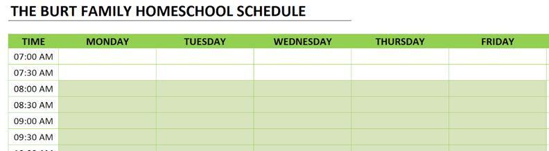 homeschool schedule clear data