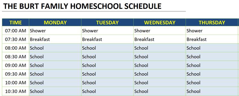 homeschool schedule color scheme example