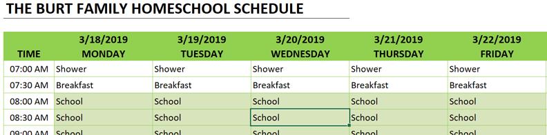 homeschool schedule copy formula