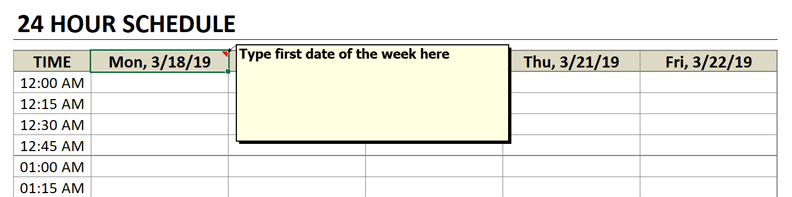 schedule enter week beginning