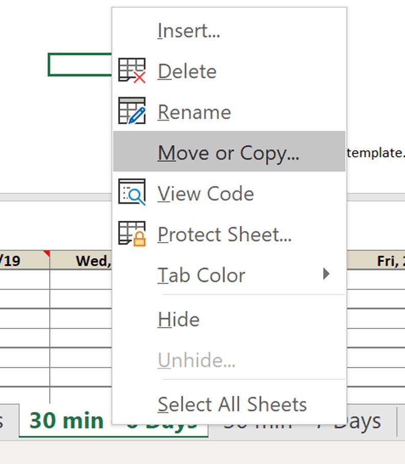 schedule new worksheet