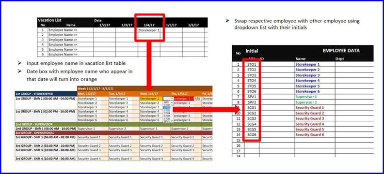 shift planner swap employees
