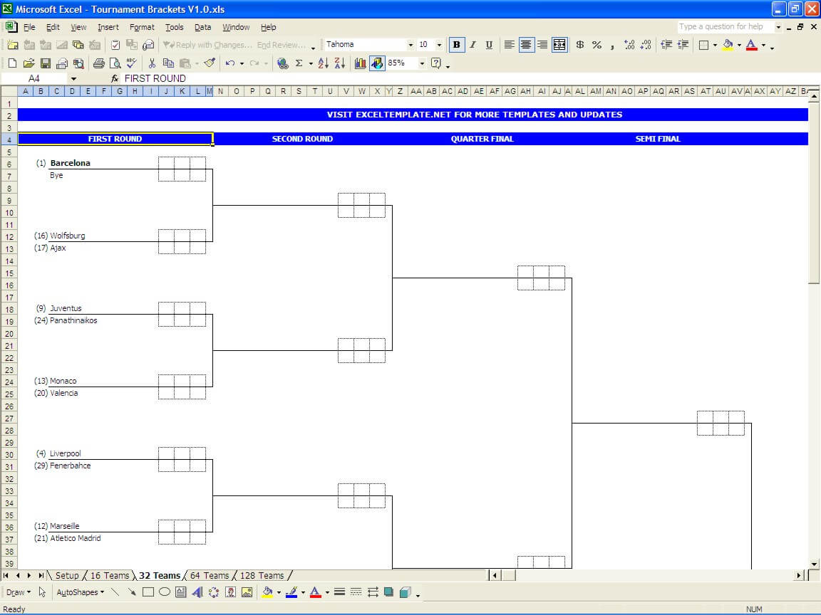 Printable Tournament Bracket Template The Spreadsheet Page