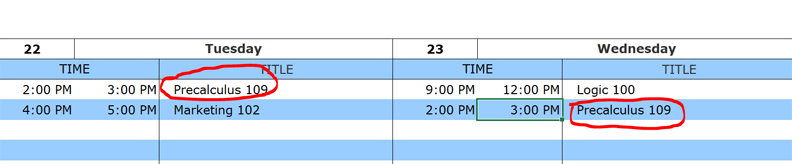 weekly class schedule fixed date example