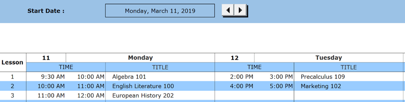 weekly class schedule recurring days