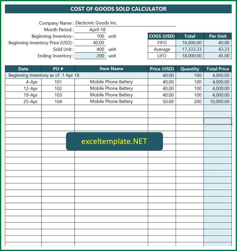 CoGS Calculator Spreadsheet