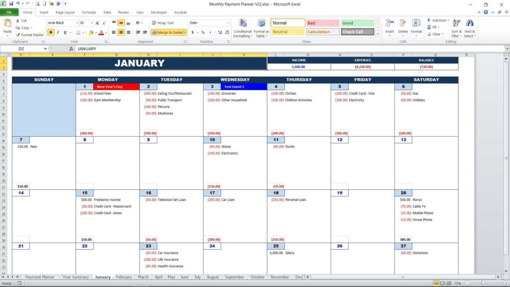 Personal Monthly Payment Planner - Calendar View