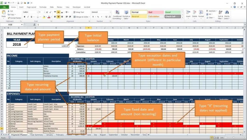 Monthly Payment Planner - Input Worksheet