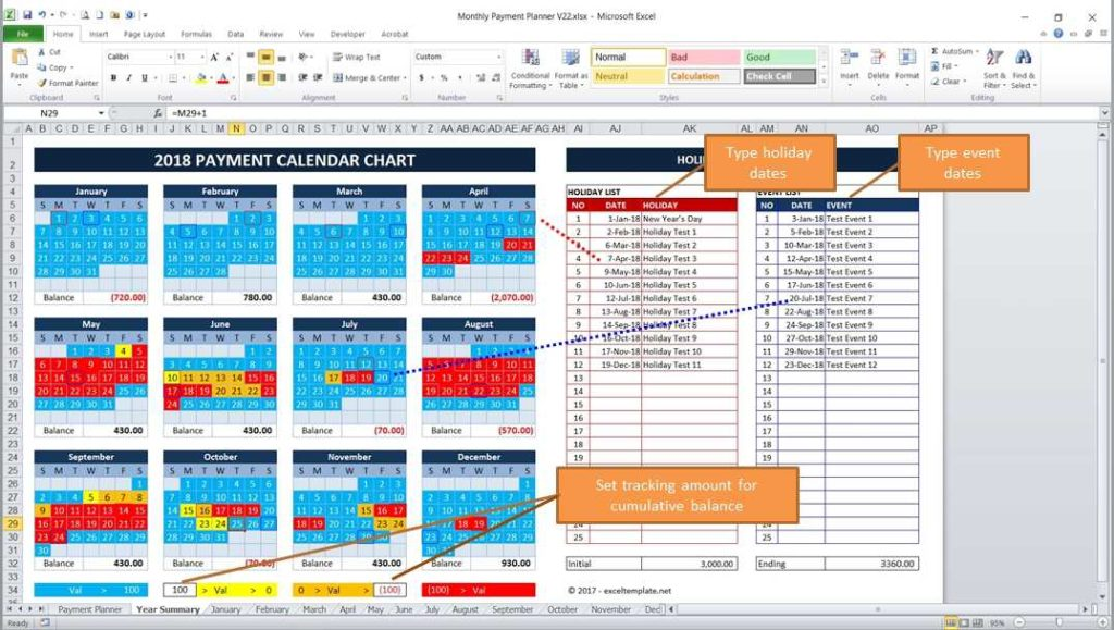Monthly Payment Planner - One Year Cash Flow Summary