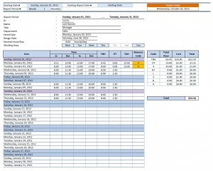 Employee Time Sheet Manager Pro for Excel - Individual Employee Report