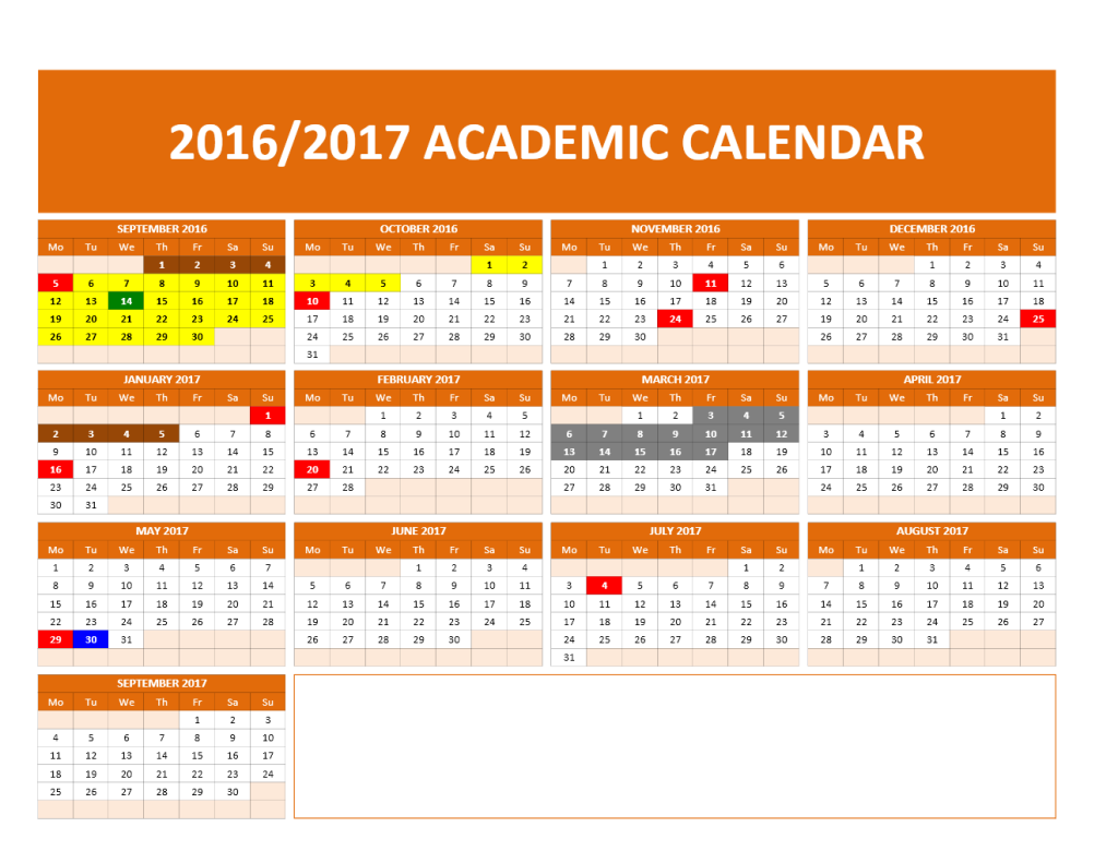 2016/2017 School Calendar Model 1 - One page landscape calendar