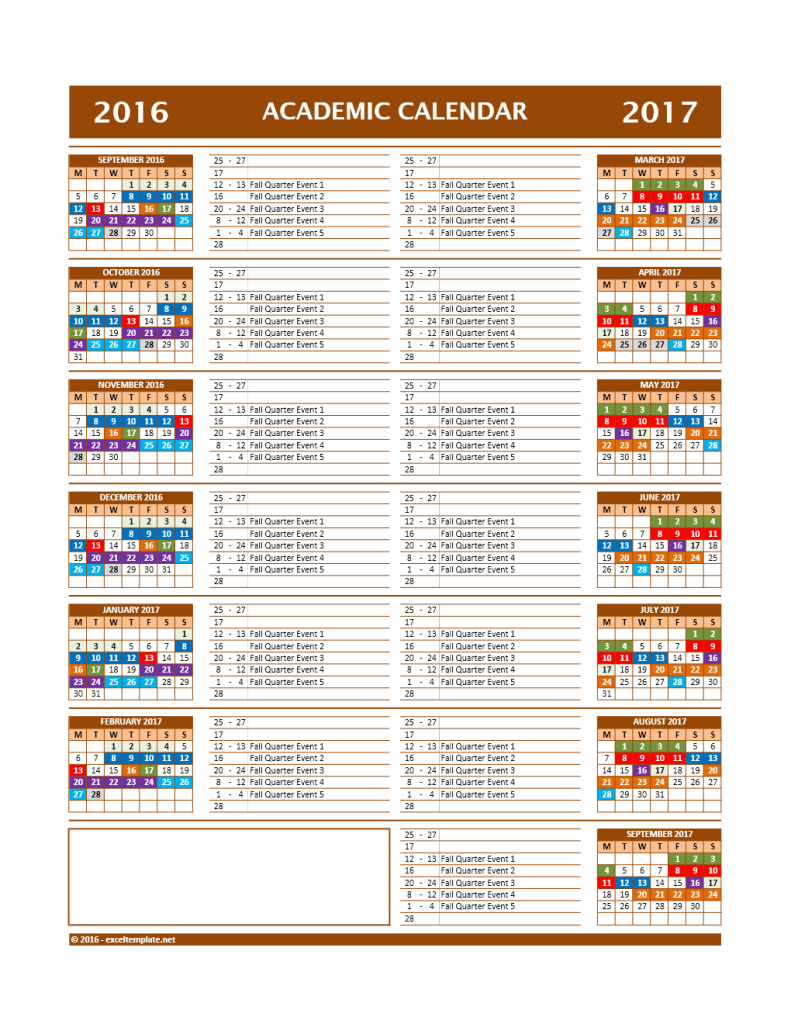 2016/2017 School Calendar Model 12