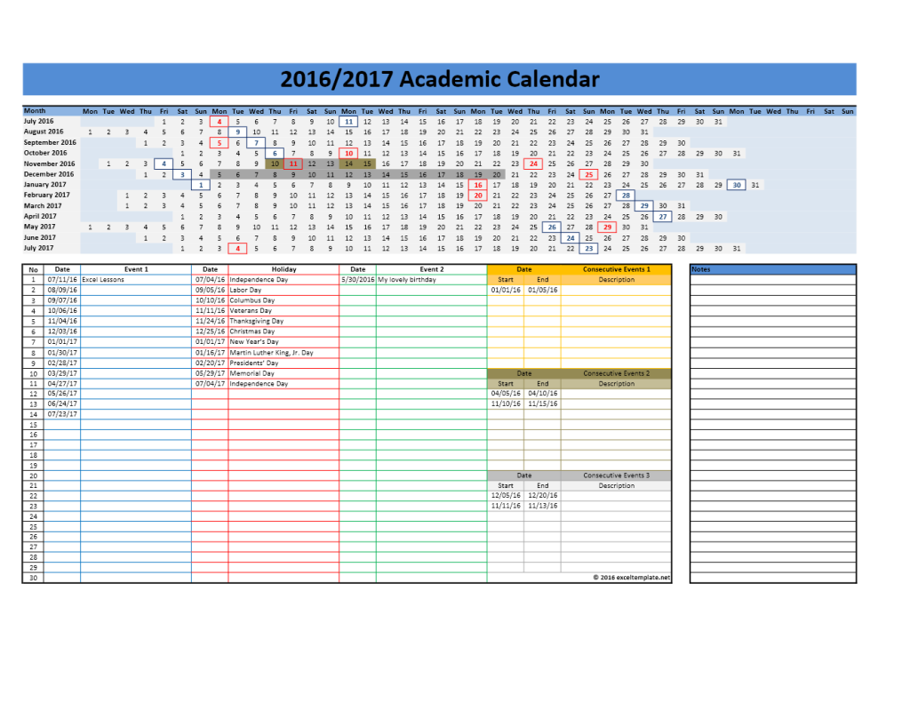 2016 2017 School Calendar Model 3 - Linear