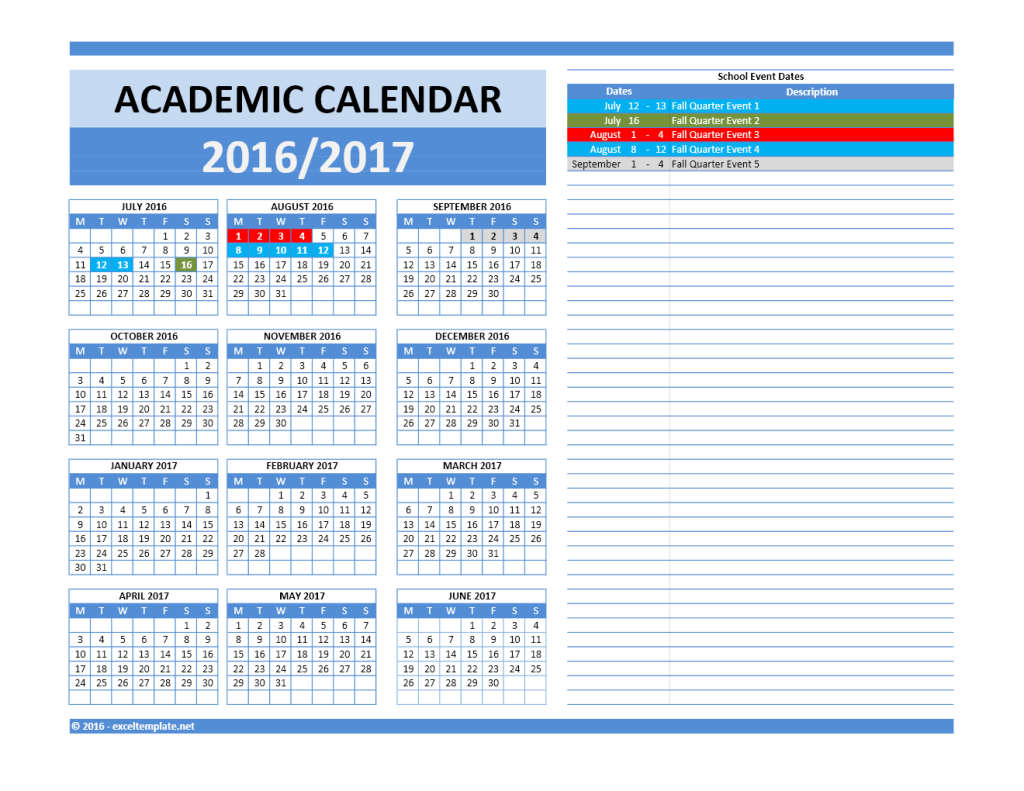 2016 2017 School Calendar Model 5 - Combined Dates