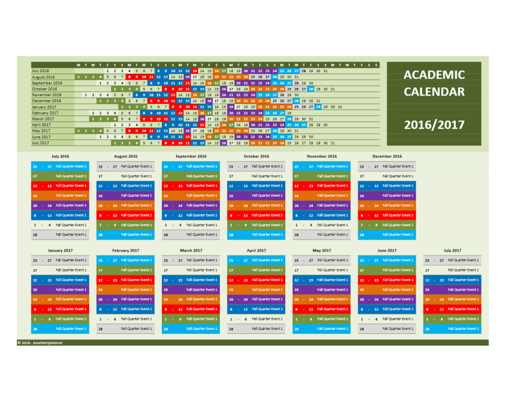 2016/2017 School Calendar Model 7 - Combined Dates