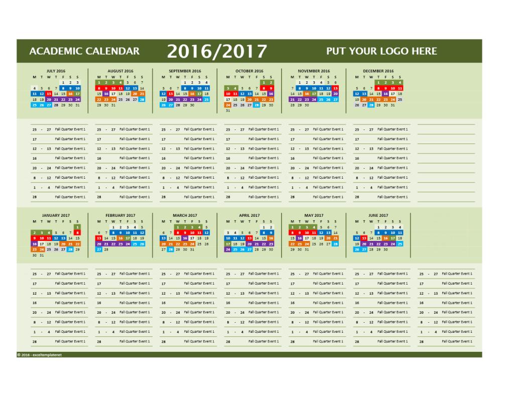 2016/2017 School Calendar Model 9