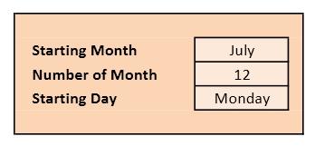 Calendar Setup Box