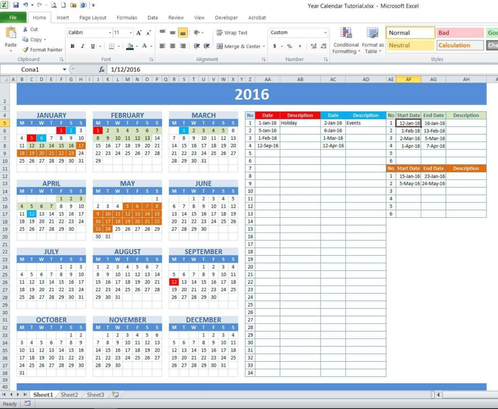 How to Create Year and School Calendar with Date Marker Tutorial