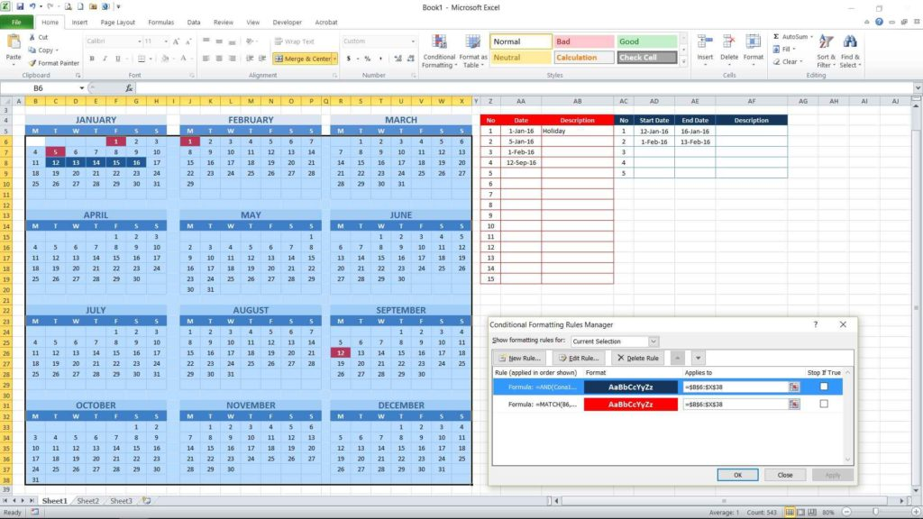 Picture 18 - Editing conditional formatting formula for consecutive date table