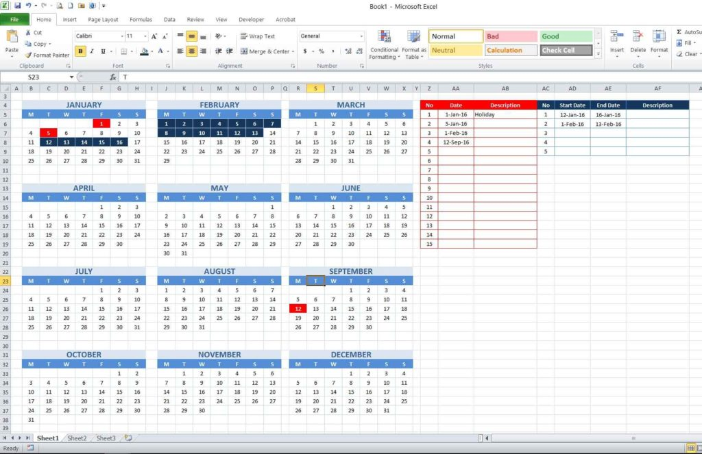 Picture 20 - Result of conditional formatting formula for consecutive date table