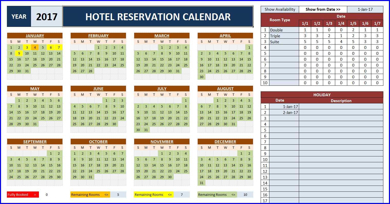 Booking Room Calendar Spreadsheet Excel