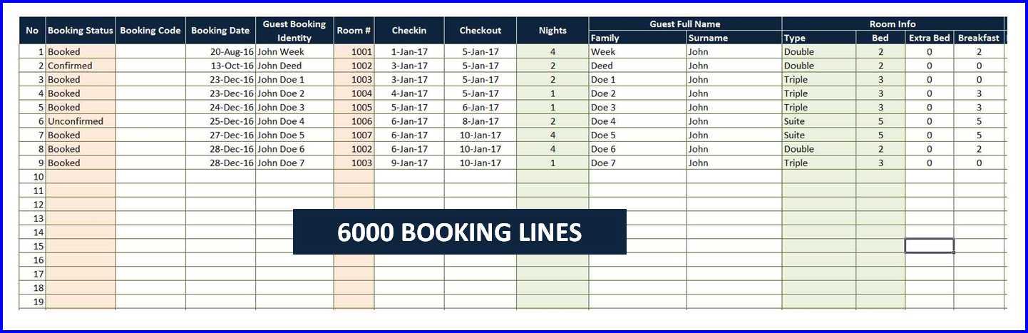 Room Booking Calendar - 6000 Booking LInes