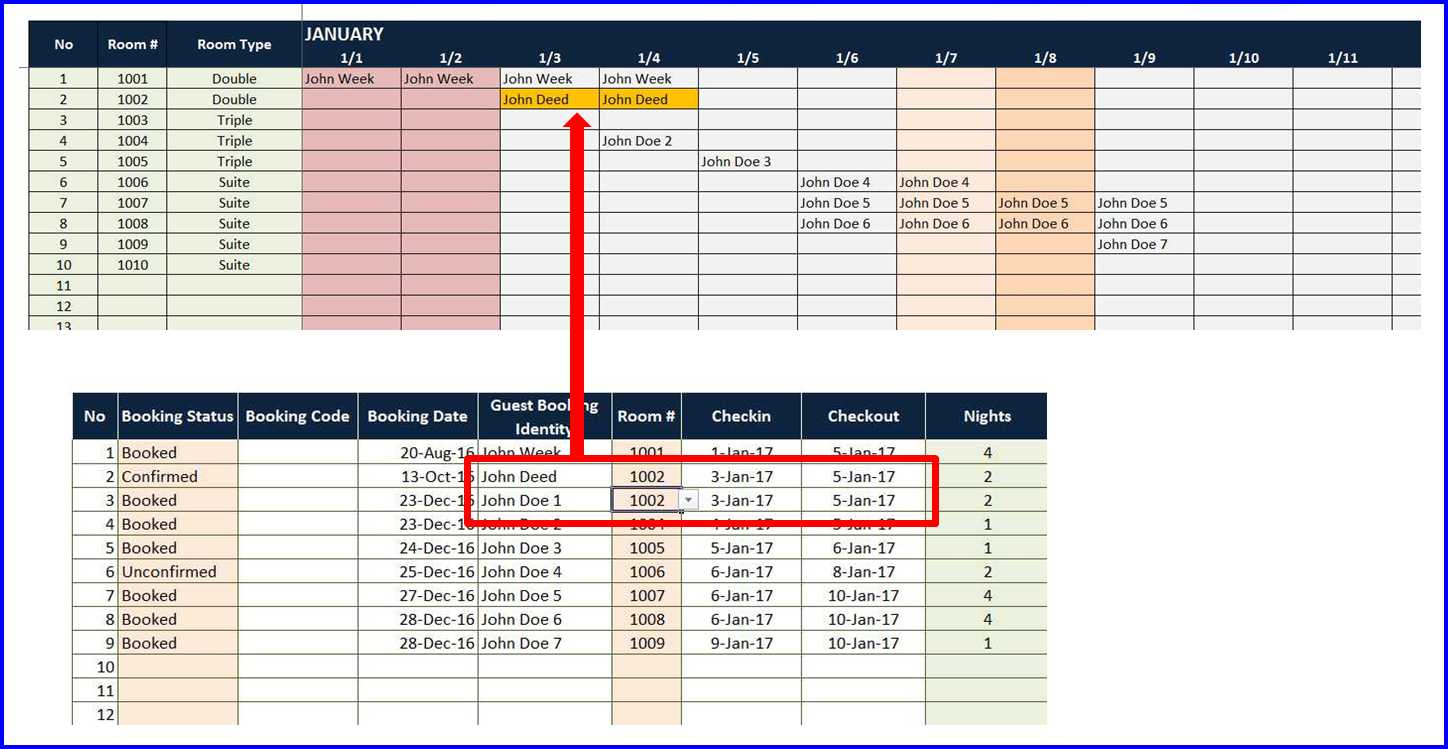 Room Booking Calendar - Double Booking Marker